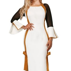White and Gold Side Slit Flare Sleeve Tie Back Dre